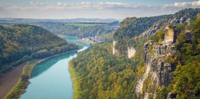 View from Bastei in Saxon Switzerland Germany to the town Wehlen and the river Elbe
