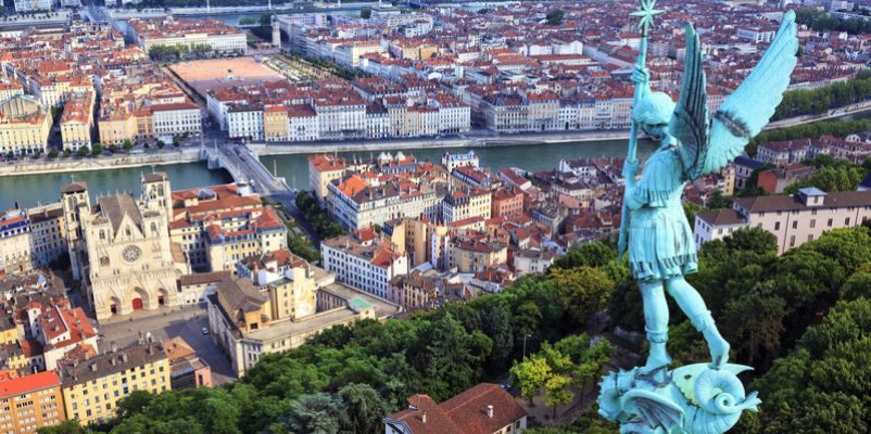 View of Saone and Lyon from the top of Notre Dame de Fourviere