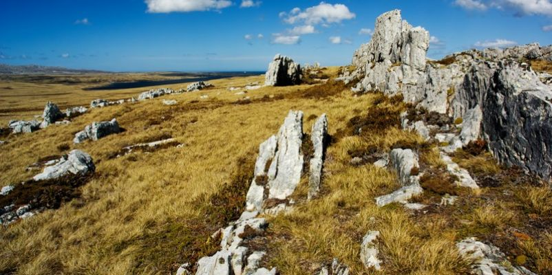 Rocky mountain top Falkland Islands