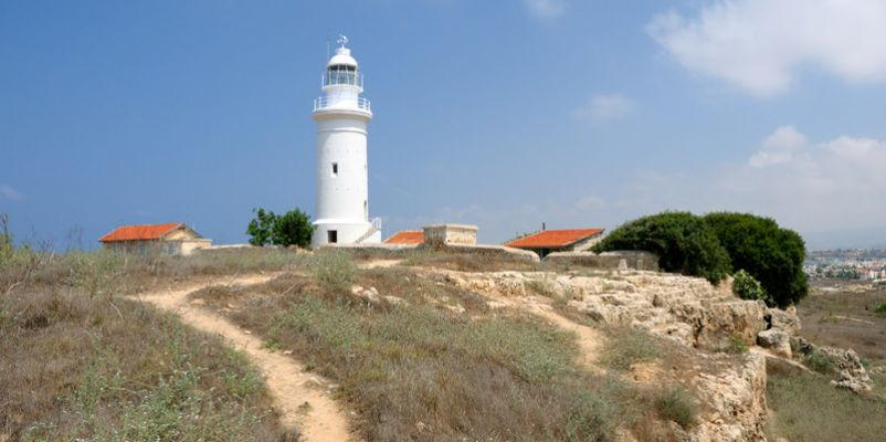 Old lighthouse in city of Paphos, Republic of Cyprus