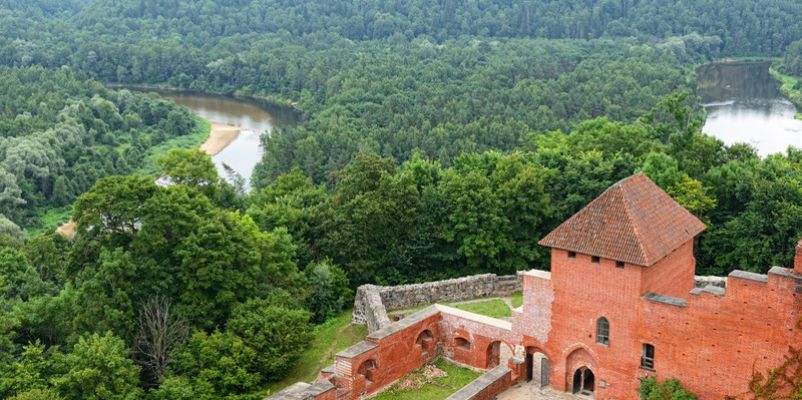 Turaida castle and Gauja river valley in Sigulda, Latvia