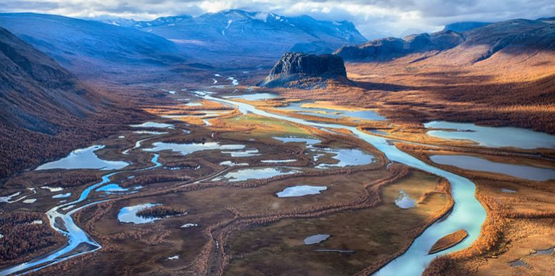 Sarek national park in Rapadalen, Sweden