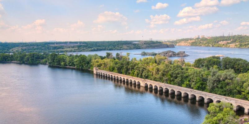 Dnieper river near Zaporozhye city, Ukraine