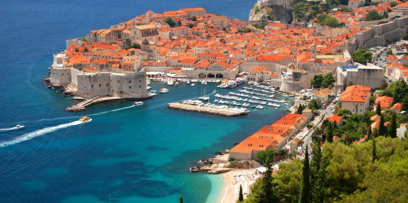 Spectacular view on the old town of Dubrovnik