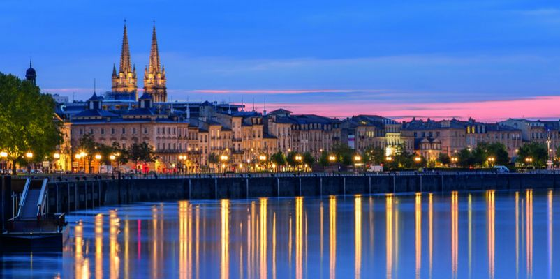 View on Bordeaux in the evening, France