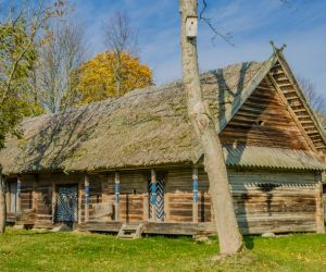 Traditional cottage at Rumsiskes open-air museum