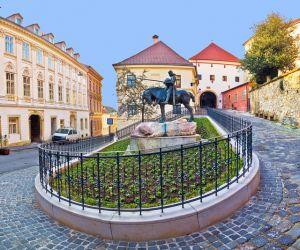 Historic Zagreb street and the Stone Gate