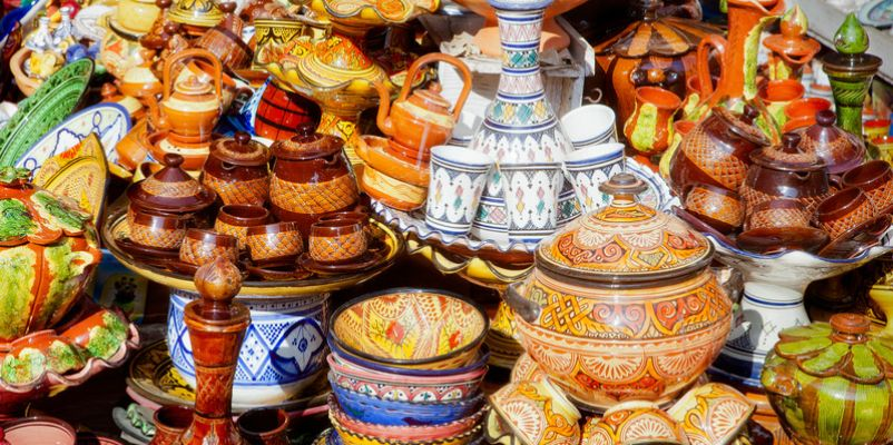 Traditional moroccan earthenware at Safi
