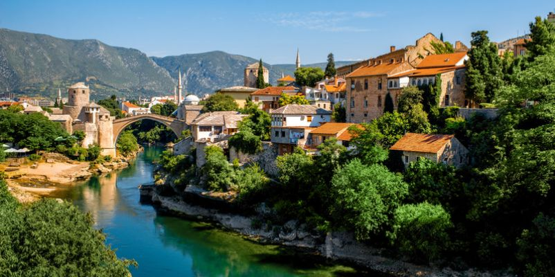Mostar town and the Old Bridge over the Neretva river