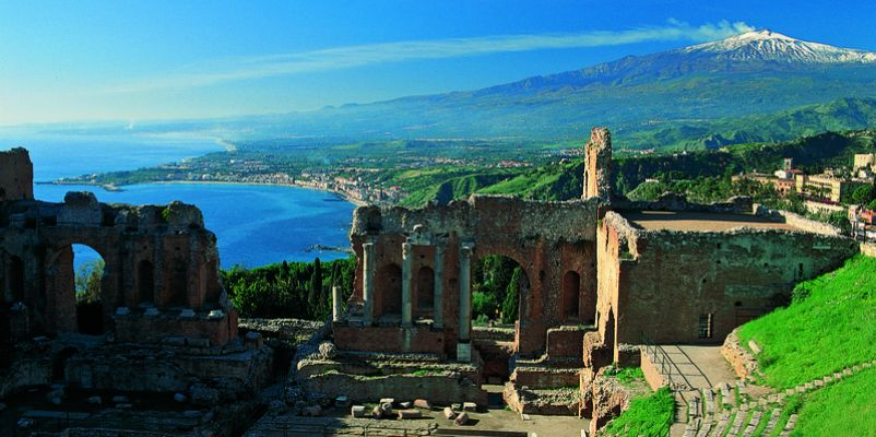 The Greek Theatre at Taormina and Mount Etna