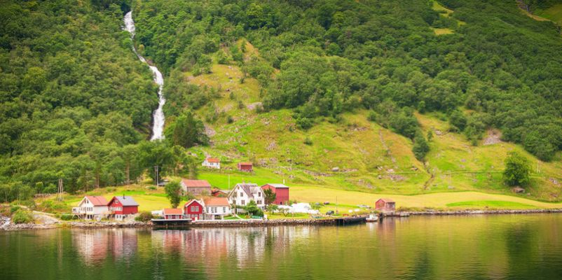 Small village in Naeroyfjord