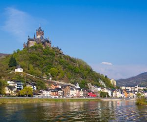 The castle and town of Cochem on the Moselle River