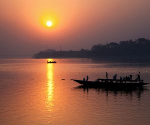 Sunset on the Brahmaputra River