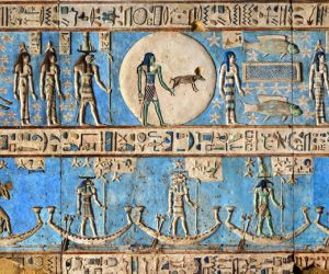 Painted bas-relief sculptures at Dendera