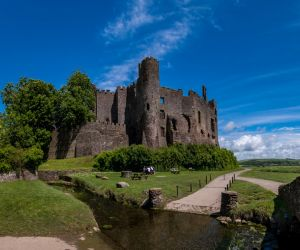 Medieval Laugharne Castle on the River Taf estuary