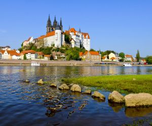 Albrechtsburg Castle and the Cathedral on the Elbe River at Meissen