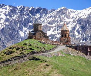 Gergeti Holy Trinity Church (Tsminda Sameba) in Kazbegi