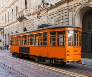 Tram in historic Milan