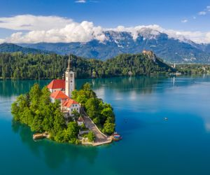The island of the Pilgrimage Church of the Assumption of Maria on Lake Bled