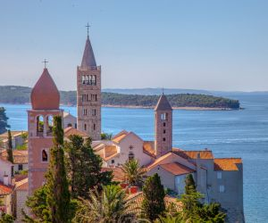 Rooftops of the Old Town of Rab with its landmark bell towers