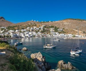 Pandeli fishing village and harbour near Pandeli Castle, Leros