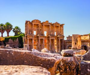 The Library of Celsus in the ancient city of Ephesus
